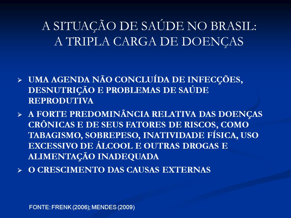 A SITUAÇÃO DE SAÚDE NO BRASIL: A TRIPLA CARGA DE DOENÇAS UMA AGENDA NÃO CONCLUÍDA DE INFECÇÕES, DESNUTRIÇÃO E PROBLEMAS DE SAÚDE REPRODUTIVA A FORTE PREDOMINÂNCIA RELATIVA DAS DOENÇAS CRÔNICAS E DE SEUS FATORES DE RISCOS, COMO TABAGISMO, SOBREPESO, INATIVIDADE FÍSICA, USO EXCESSIVO DE ÁLCOOL E OUTRAS DROGAS E ALIMENTAÇÃO INADEQUADA O CRESCIMENTO DAS CAUSAS EXTERNAS FONTE: FRENK (2006); MENDES (2009)