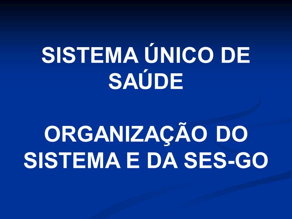 SISTEMA ÚNICO DE SAÚDE ORGANIZAÇÃO DO SISTEMA E DA SES-GO