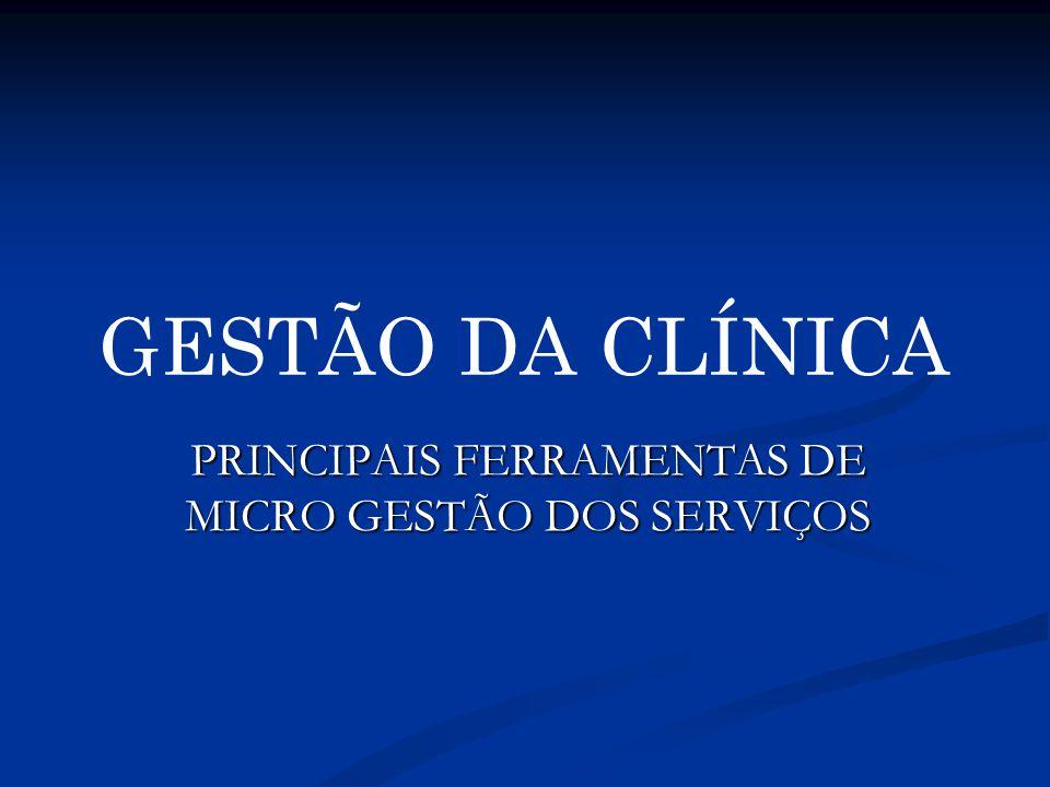 GESTÃO DA CLÍNICA PRINCIPAIS FERRAMENTAS DE MICRO GESTÃO DOS SERVIÇOS