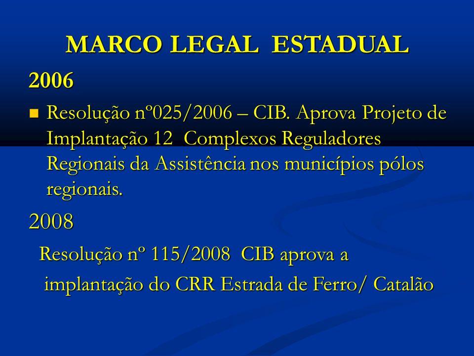 MARCO LEGAL ESTADUAL 2006 Resolução nº025/2006 – CIB.