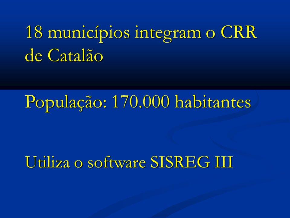 18 municípios integram o CRR de Catalão População: 170.000 habitantes Utiliza o software SISREG III