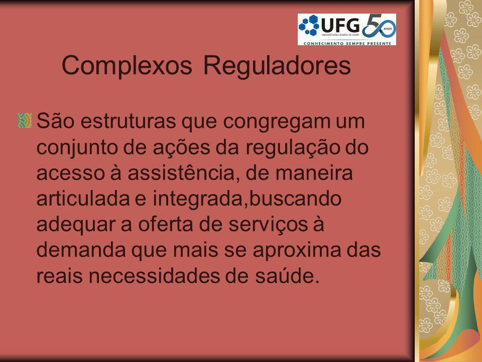 Complexos Reguladores São estruturas que congregam um conjunto de ações da regulação do acesso à assistência, de maneira articulada e integrada,buscan