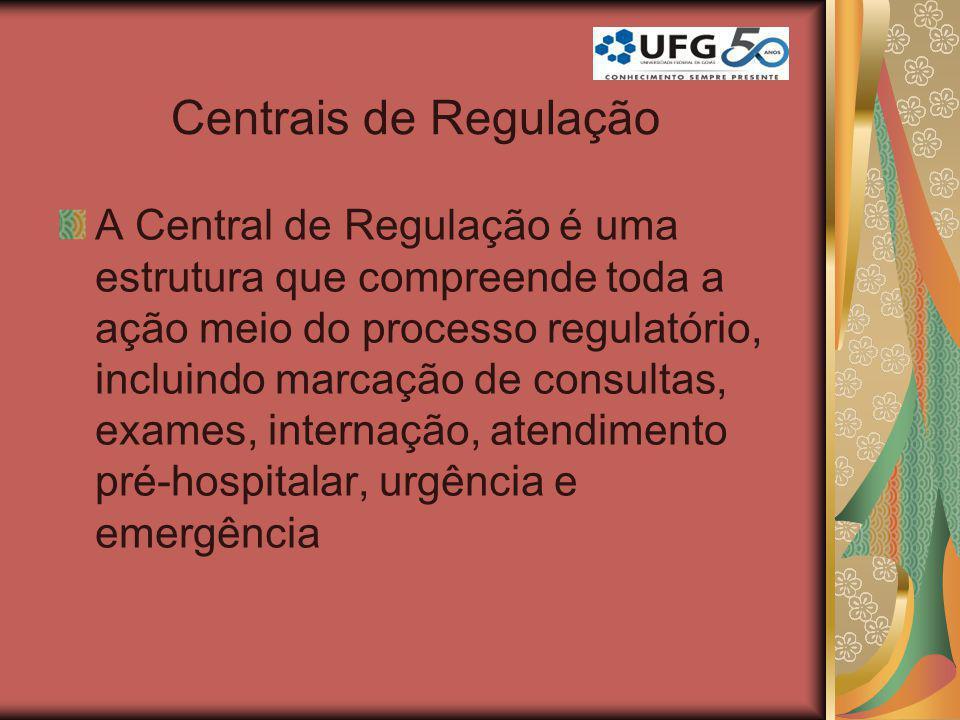 Centrais de Regulação A Central de Regulação é uma estrutura que compreende toda a ação meio do processo regulatório, incluindo marcação de consultas,