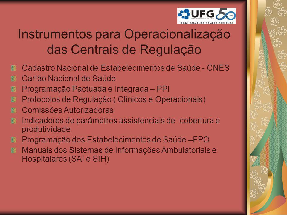 Instrumentos para Operacionalização das Centrais de Regulação Cadastro Nacional de Estabelecimentos de Saúde - CNES Cartão Nacional de Saúde Programaç
