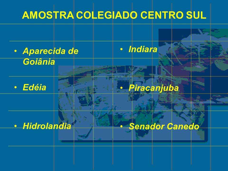 AMOSTRA COLEGIADO CENTRO SUL Aparecida de Goiânia Edéia Hidrolandia Indiara Piracanjuba Senador Canedo