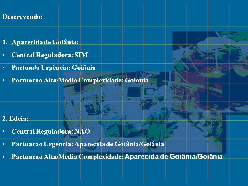 Descrevendo: 1.Aparecida de Goiânia: Central Reguladora: SIM Pactuada Urgência: Goiânia Pactuacao Alta/Media Complexidade: Goiania 2. Edeia: Central R
