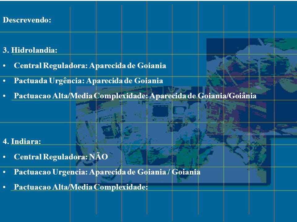 Descrevendo: 3. Hidrolandia: Central Reguladora: Aparecida de Goiania Pactuada Urgência: Aparecida de Goiania Pactuacao Alta/Media Complexidade: Apare