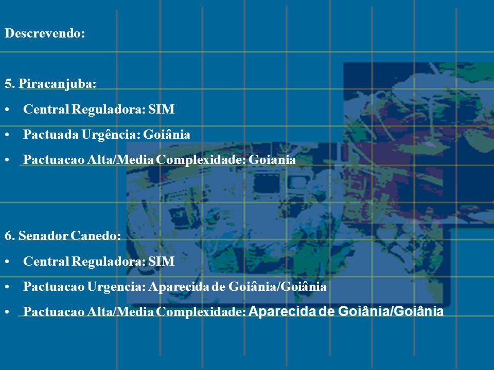 Descrevendo: 5. Piracanjuba: Central Reguladora: SIM Pactuada Urgência: Goiânia Pactuacao Alta/Media Complexidade: Goiania 6. Senador Canedo: Central