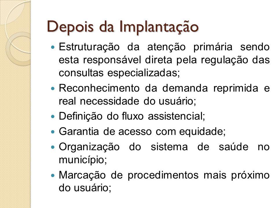 Depois da Implantação Estruturação da atenção primária sendo esta responsável direta pela regulação das consultas especializadas; Reconhecimento da de