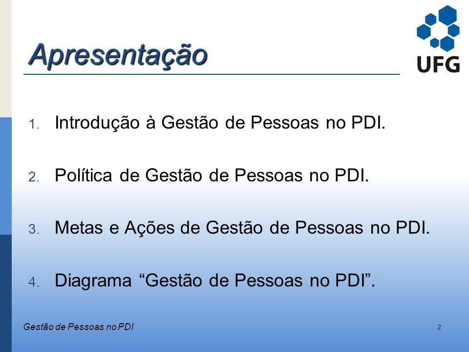 Apresentação 1. Introdução à Gestão de Pessoas no PDI. 2. Política de Gestão de Pessoas no PDI. 3. Metas e Ações de Gestão de Pessoas no PDI. 4. Diagr