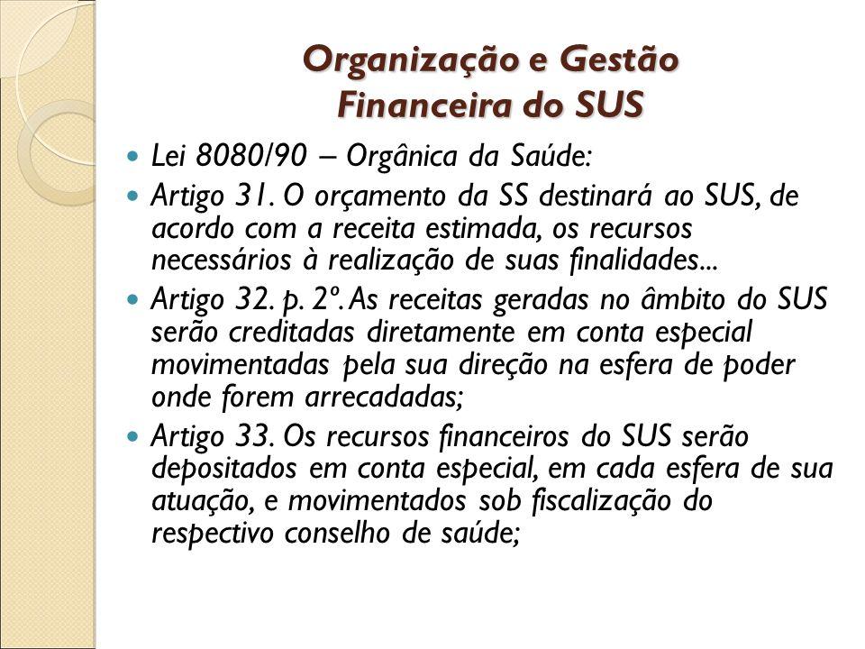 Organização e Gestão Financeira do SUS Lei 8080/90 – Orgânica da Saúde: Artigo 31.