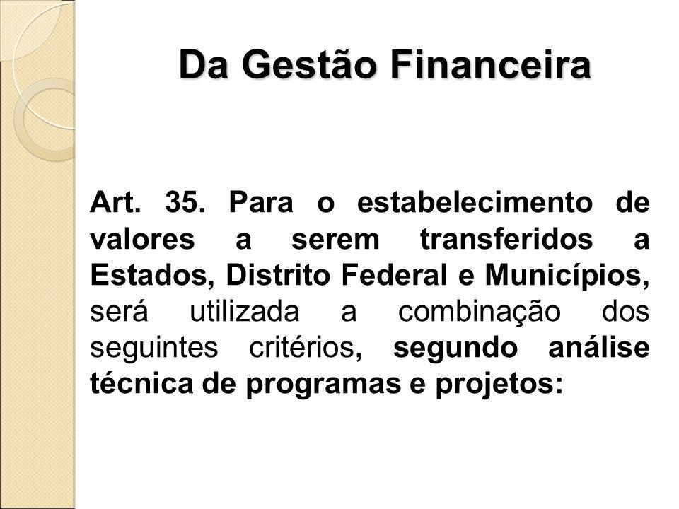 Da Gestão Financeira Art. 35.