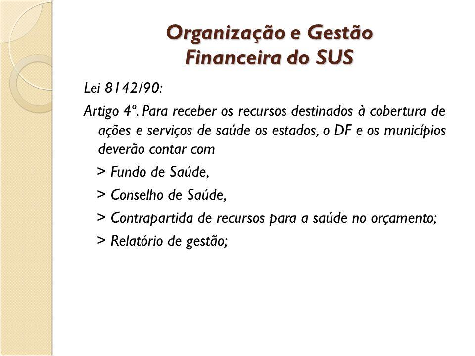 Organização e Gestão Financeira do SUS Lei 8142/90: Artigo 4º.