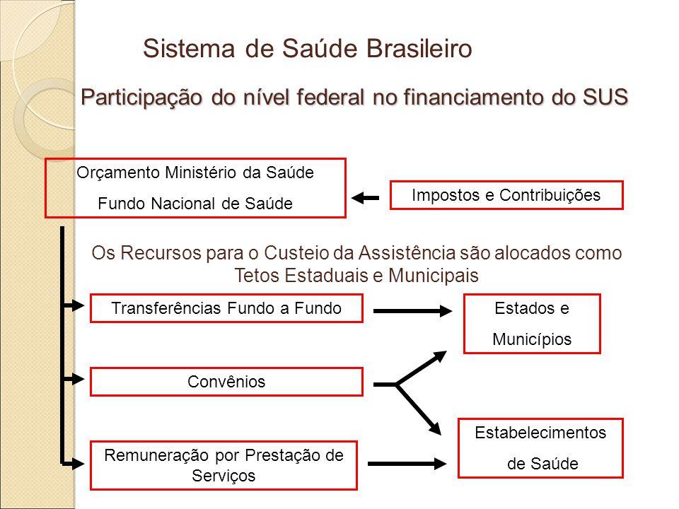 Sistema de Saúde Brasileiro Participação do nível federal no financiamento do SUS Impostos e Contribuições Orçamento Ministério da Saúde Fundo Nacional de Saúde Estados e Municípios Estabelecimentos de Saúde Transferências Fundo a Fundo Convênios Remuneração por Prestação de Serviços Os Recursos para o Custeio da Assistência são alocados como Tetos Estaduais e Municipais