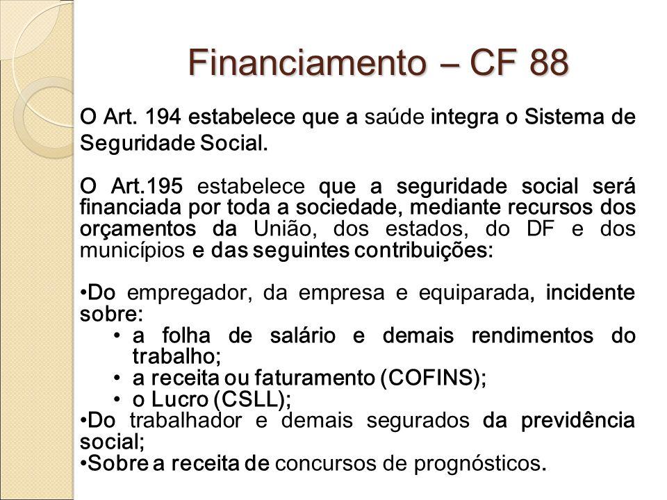 Financiamento – CF 88 O Art. 194 estabelece que a saúde integra o Sistema de Seguridade Social.