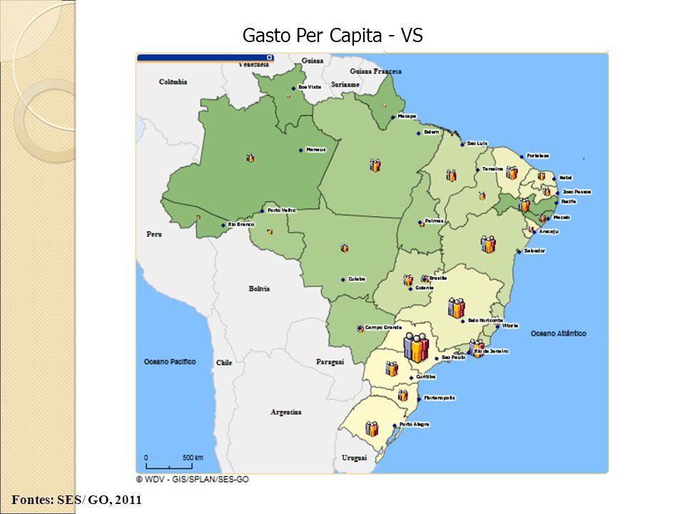 Gasto Per Capita - VS Fontes: SES/ GO, 2011
