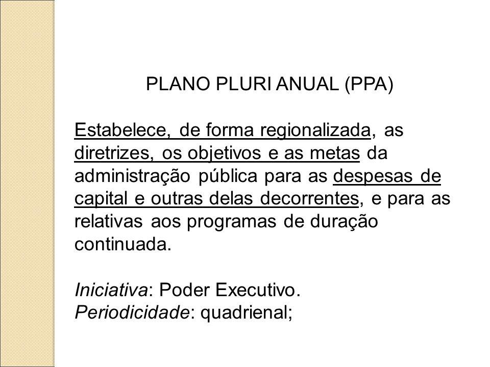 PLANO PLURI ANUAL (PPA) Estabelece, de forma regionalizada, as diretrizes, os objetivos e as metas da administração pública para as despesas de capital e outras delas decorrentes, e para as relativas aos programas de duração continuada.