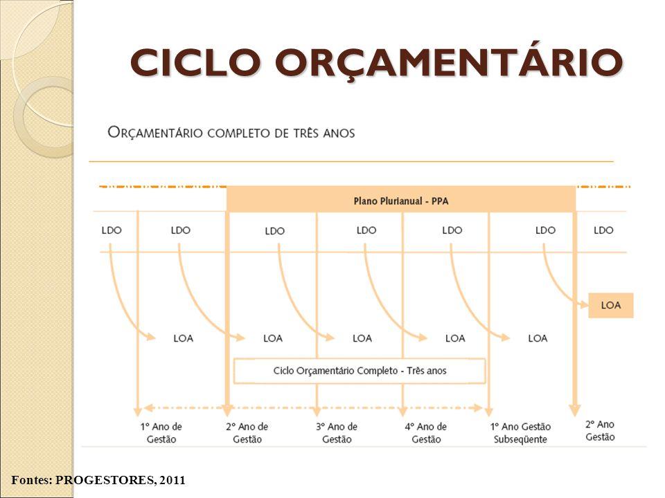 CICLO ORÇAMENTÁRIO Fontes: PROGESTORES, 2011