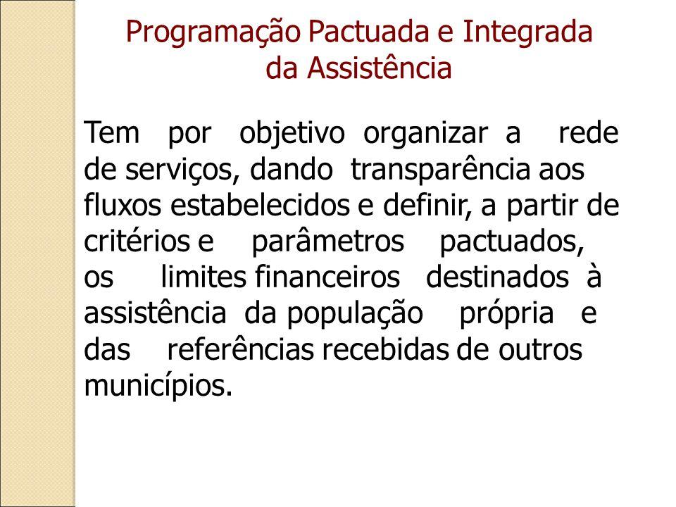 Tem por objetivo organizar a rede de serviços, dando transparência aos fluxos estabelecidos e definir, a partir de critérios e parâmetros pactuados, os limites financeiros destinados à assistência da população própria e das referências recebidas de outros municípios.