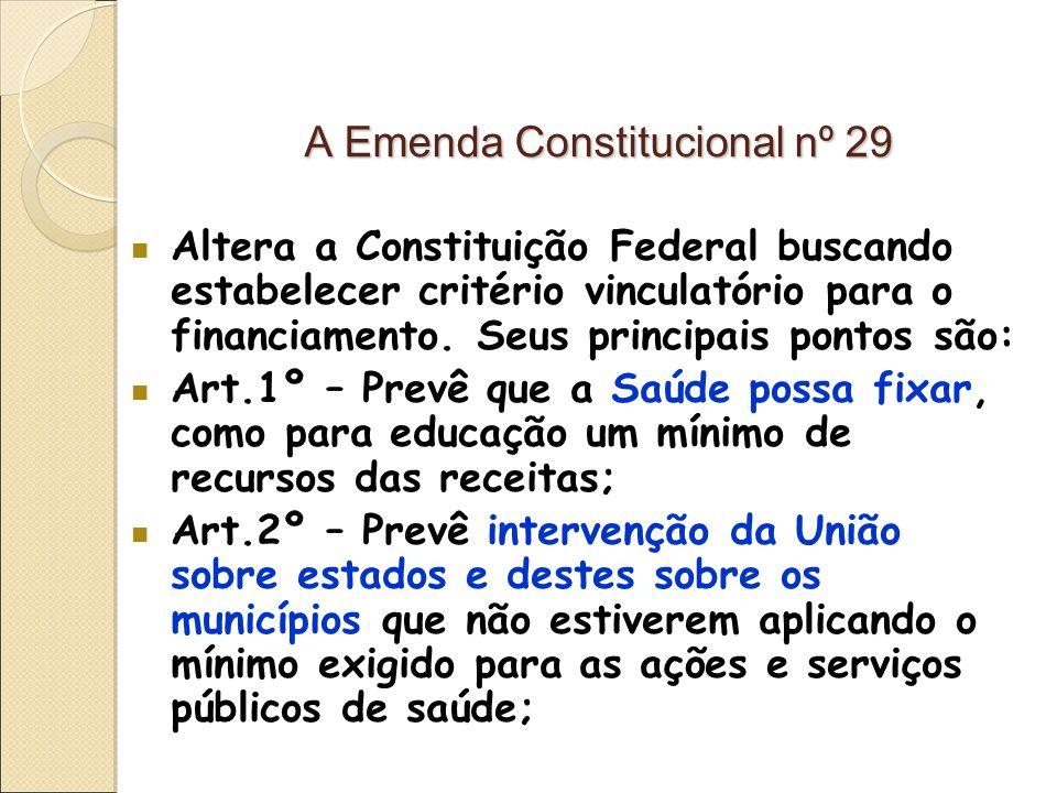 A Emenda Constitucional nº 29 Altera a Constituição Federal buscando estabelecer critério vinculatório para o financiamento.