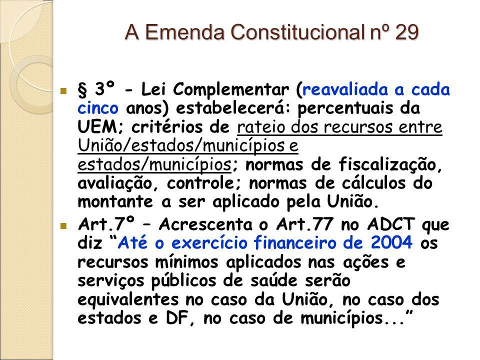 A Emenda Constitucional nº 29 § 3º - Lei Complementar (reavaliada a cada cinco anos) estabelecerá: percentuais da UEM; critérios de rateio dos recursos entre União/estados/municípios e estados/municípios; normas de fiscalização, avaliação, controle; normas de cálculos do montante a ser aplicado pela União.