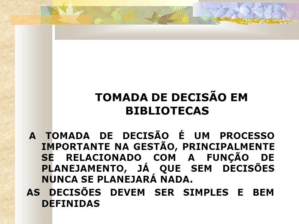 TOMADA DE DECISÃO EM BIBLIOTECAS A TOMADA DE DECISÃO É UM PROCESSO IMPORTANTE NA GESTÃO, PRINCIPALMENTE SE RELACIONADO COM A FUNÇÃO DE PLANEJAMENTO, J