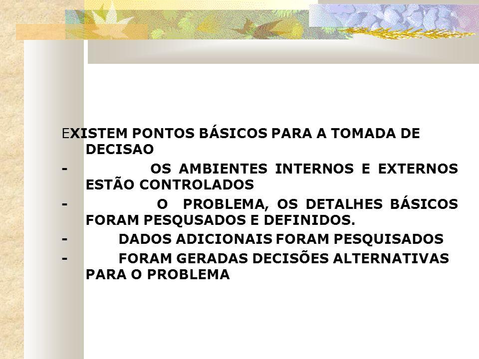 EXISTEM PONTOS BÁSICOS PARA A TOMADA DE DECISAO - OS AMBIENTES INTERNOS E EXTERNOS ESTÃO CONTROLADOS - O PROBLEMA, OS DETALHES BÁSICOS FORAM PESQUSADO