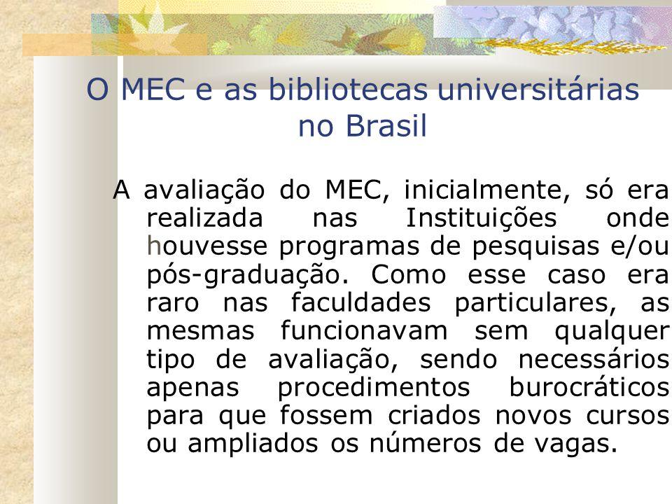 O MEC e as bibliotecas universitárias no Brasil A avaliação do MEC, inicialmente, só era realizada nas Instituições onde houvesse programas de pesquis