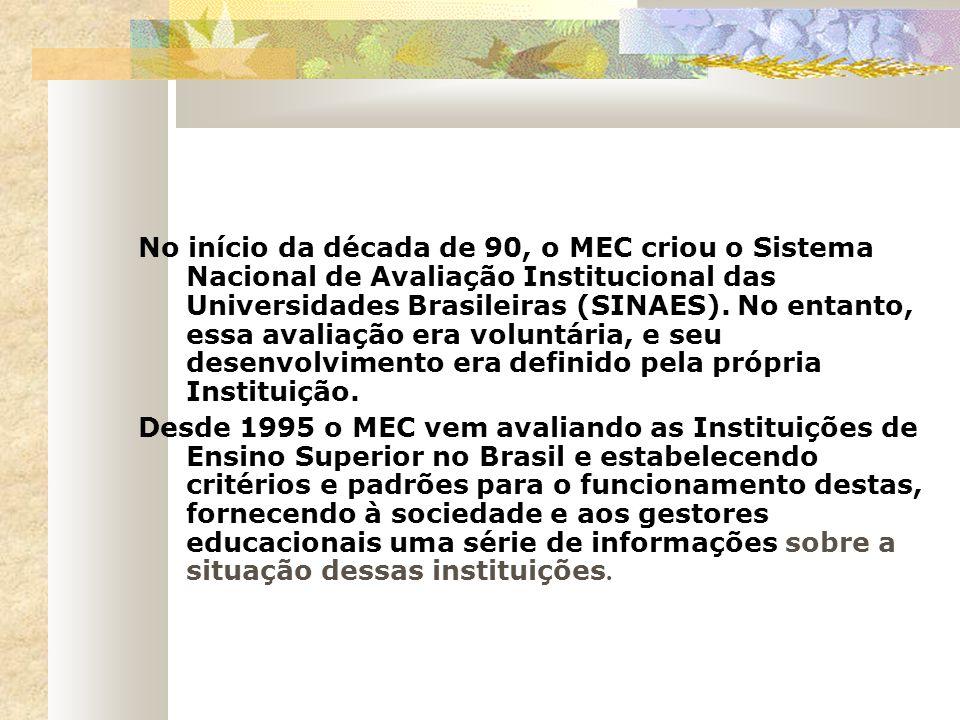 No início da década de 90, o MEC criou o Sistema Nacional de Avaliação Institucional das Universidades Brasileiras (SINAES). No entanto, essa avaliaçã