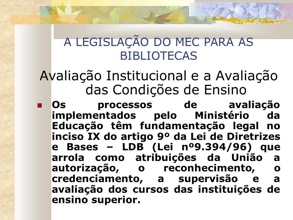 A LEGISLAÇÃO DO MEC PARA AS BIBLIOTECAS Avaliação Institucional e a Avaliação das Condições de Ensino Os processos de avaliação implementados pelo Min