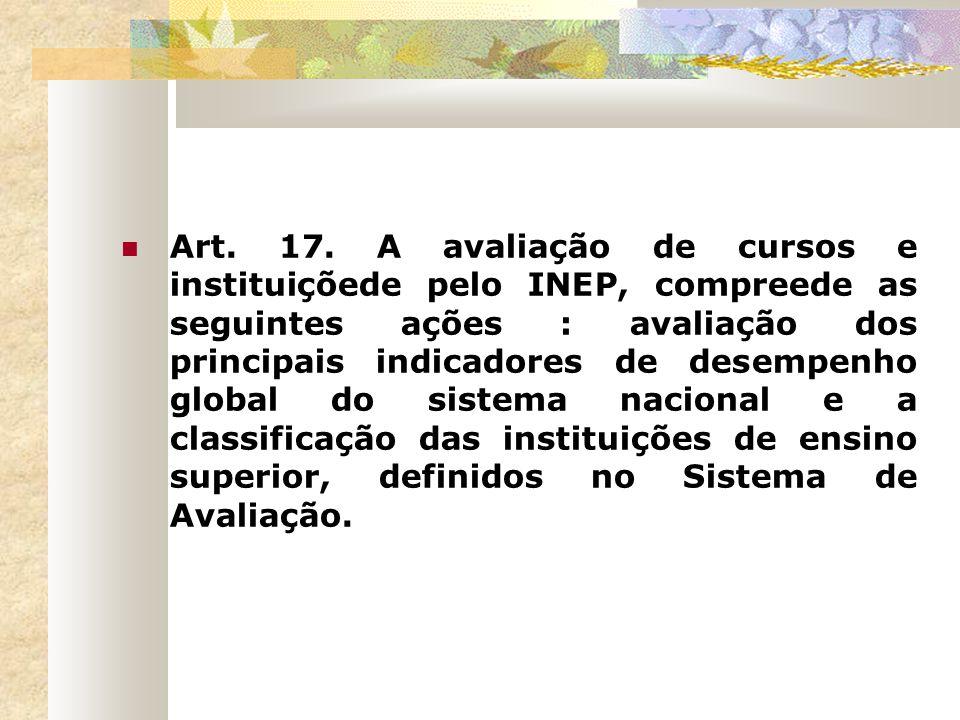 Art. 17. A avaliação de cursos e instituiçõede pelo INEP, compreede as seguintes ações : avaliação dos principais indicadores de desempenho global do