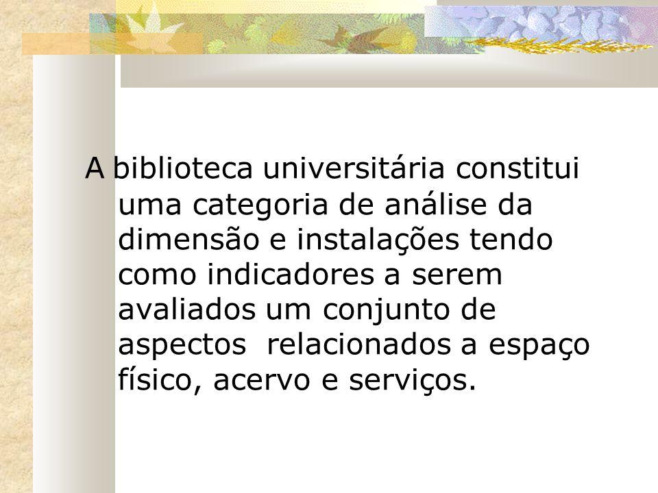 A biblioteca universitária constitui uma categoria de análise da dimensão e instalações tendo como indicadores a serem avaliados um conjunto de aspect