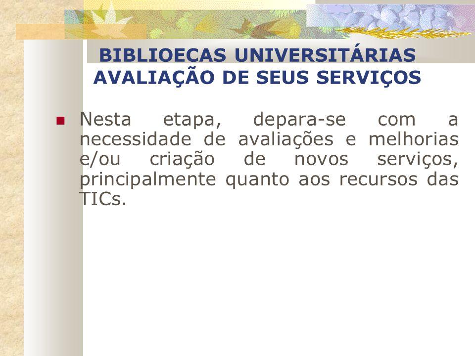 BIBLIOECAS UNIVERSITÁRIAS AVALIAÇÃO DE SEUS SERVIÇOS Nesta etapa, depara-se com a necessidade de avaliações e melhorias e/ou criação de novos serviços