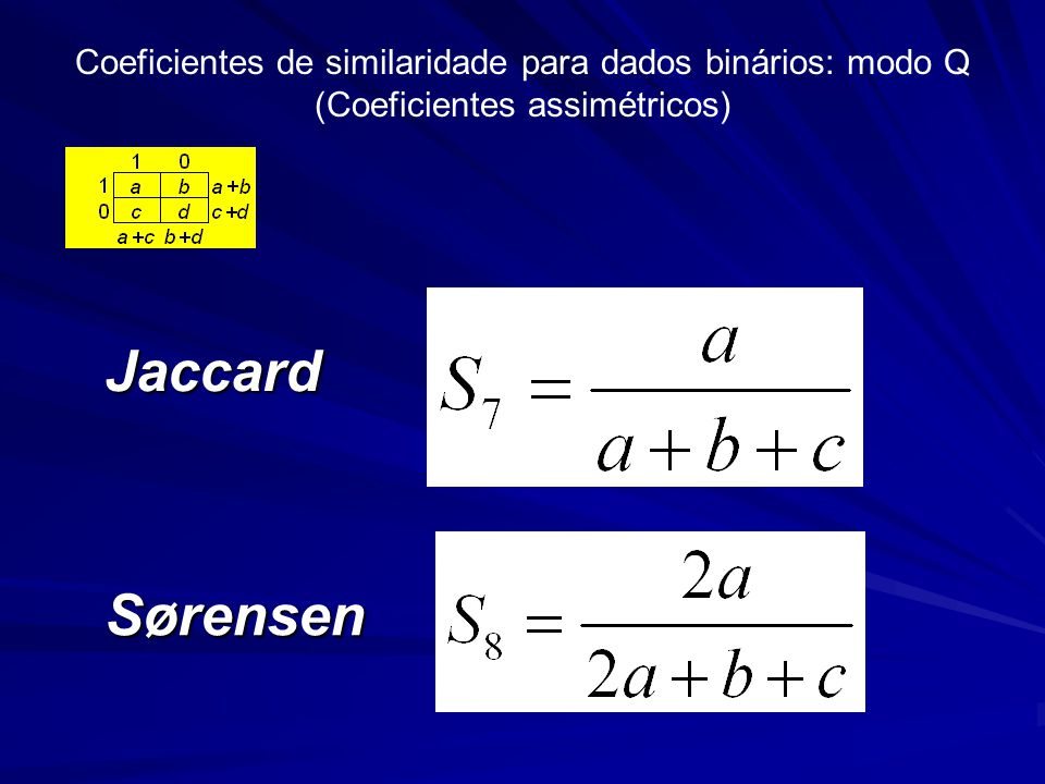 Coeficientes de similaridade para dados binários: modo Q (Coeficientes assimétricos) Jaccard Sørensen