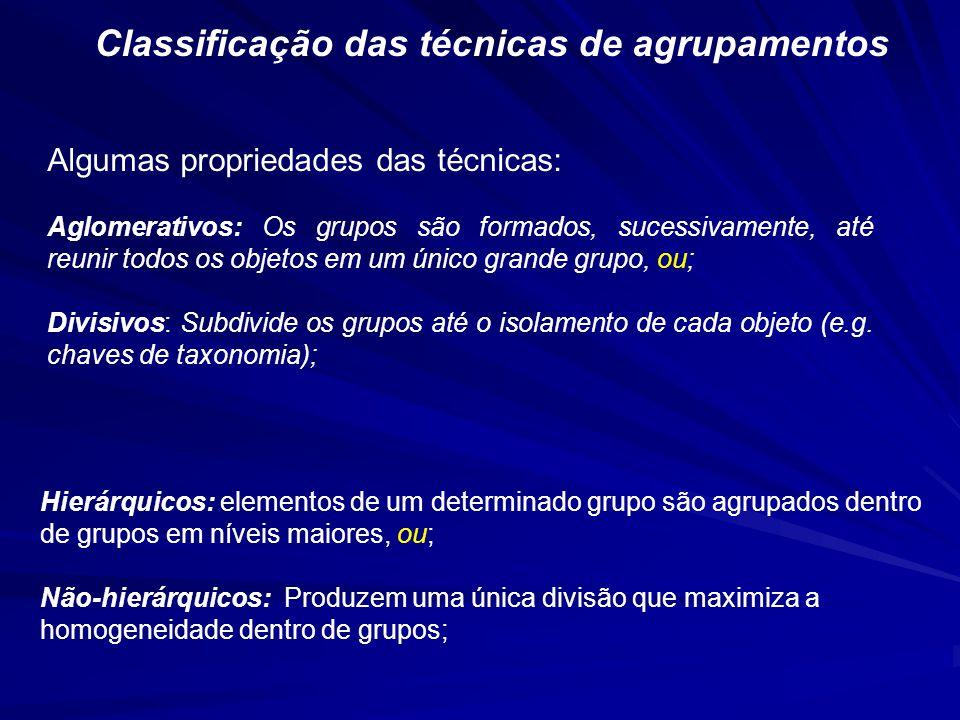 Classificação das técnicas de agrupamentos Algumas propriedades das técnicas: Aglomerativos: Os grupos são formados, sucessivamente, até reunir todos os objetos em um único grande grupo, ou; Divisivos: Subdivide os grupos até o isolamento de cada objeto (e.g.