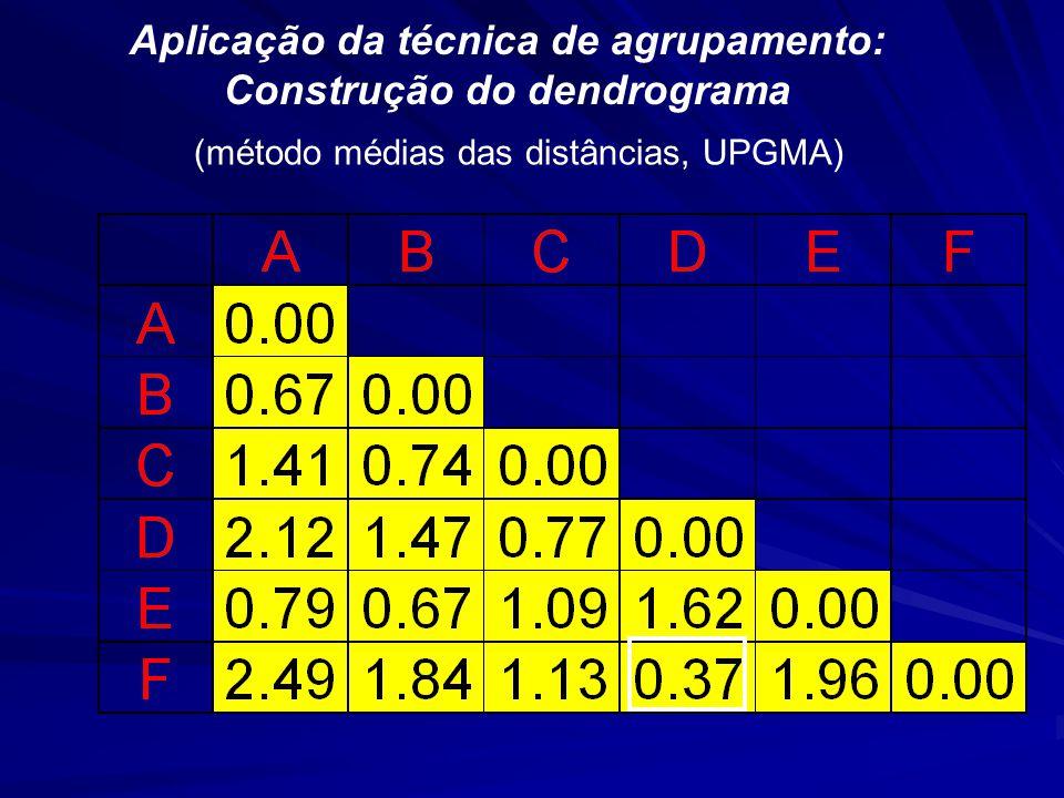 Aplicação da técnica de agrupamento: Construção do dendrograma (método médias das distâncias, UPGMA)