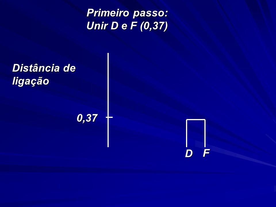 Primeiro passo: Unir D e F (0,37) D F 0,37 Distância de ligação