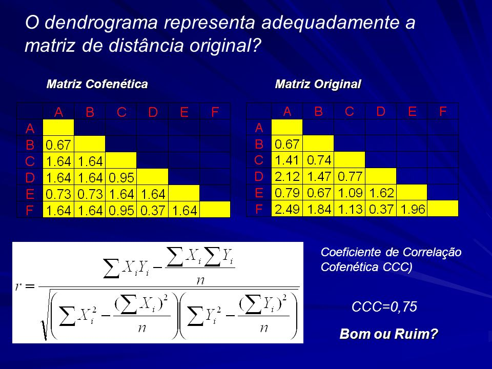 O dendrograma representa adequadamente a matriz de distância original.