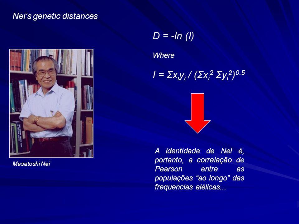 Masatoshi Nei D = -ln (I) Where I = Σx i y i / (Σx i 2 Σy i 2 ) 0.5 A identidade de Nei é, portanto, a correlação de Pearson entre as populações ao longo das frequencias alélicas...