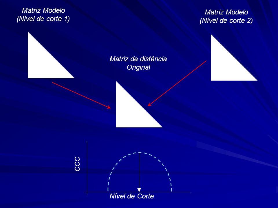 Matriz Modelo (Nível de corte 1) Matriz Modelo (Nível de corte 2) Matriz de distância Original Nível de Corte CCC