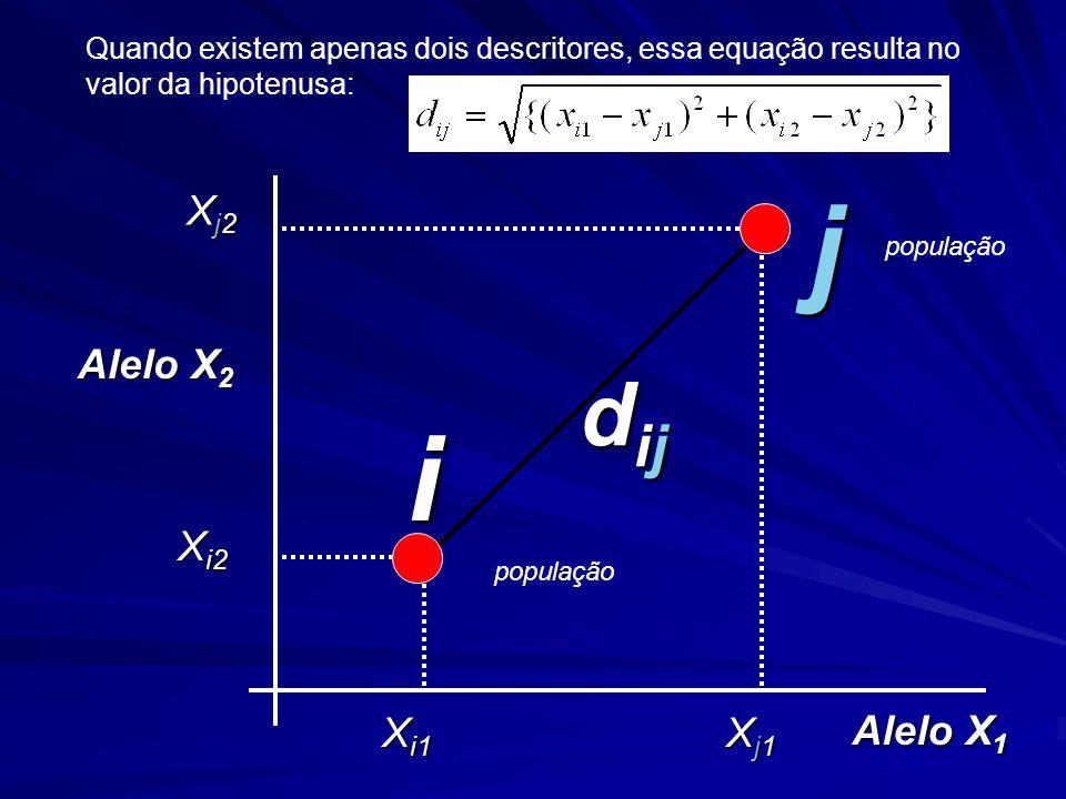 dijdijdijdij Alelo X 2 Alelo X 1 Xj2Xj2Xj2Xj2 X i2 X i1 Xj1Xj1Xj1Xj1 i j Quando existem apenas dois descritores, essa equação resulta no valor da hipotenusa: população