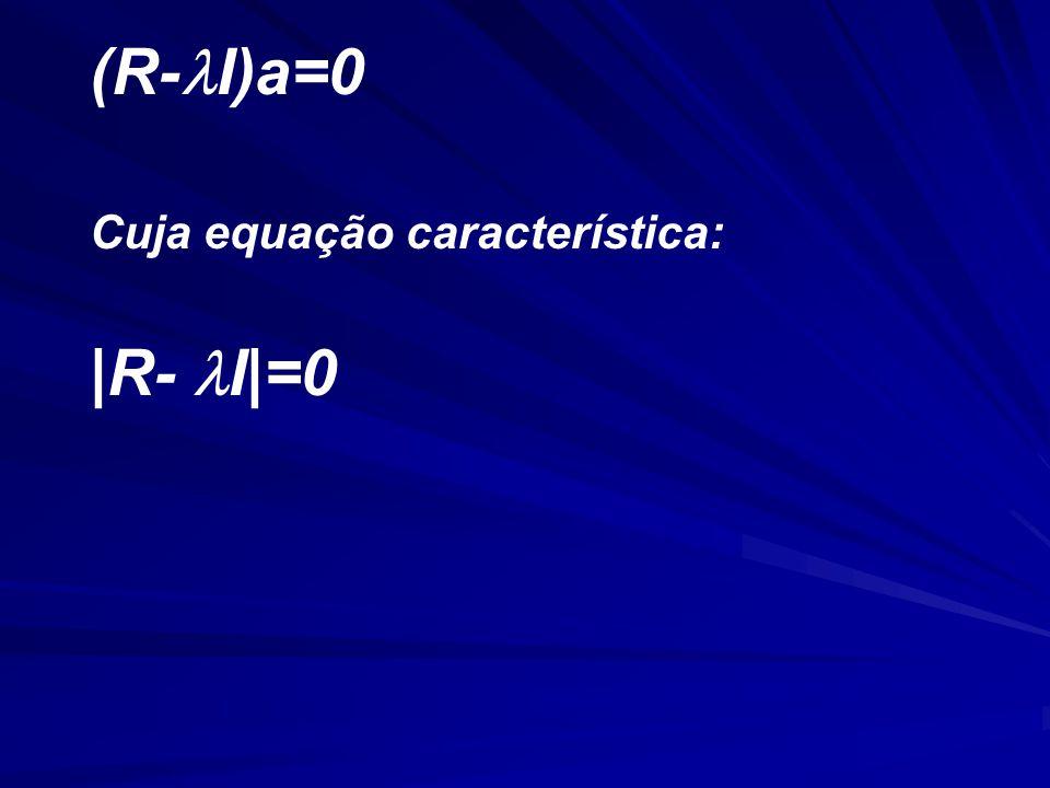 (R- I)a=0 Cuja equação característica: |R- I|=0