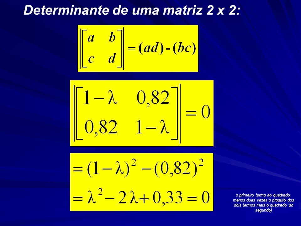 Determinante de uma matriz 2 x 2: o primeiro termo ao quadrado, menos duas vezes o produto dos dois termos mais o quadrado do segundo)