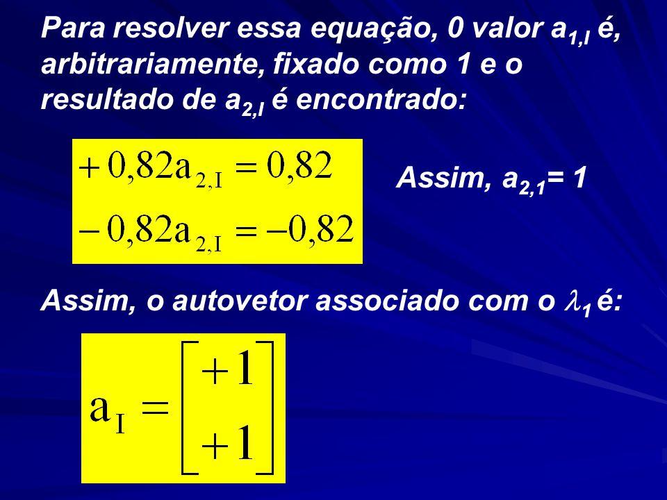 Para resolver essa equação, 0 valor a 1,I é, arbitrariamente, fixado como 1 e o resultado de a 2,I é encontrado: Assim, a 2,1 = 1 Assim, o autovetor associado com o 1 é: