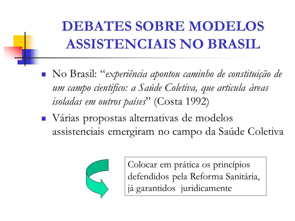 DEBATES SOBRE MODELOS ASSISTENCIAIS NO BRASIL No Brasil: experiência apontou caminho de constituição de um campo cientifico: a Saúde Coletiva, que art