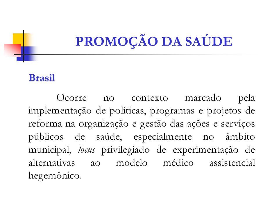 PROMOÇÃO DA SAÚDE Brasil Ocorre no contexto marcado pela implementação de políticas, programas e projetos de reforma na organização e gestão das ações