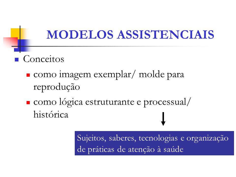 MODELOS ASSISTENCIAIS Conceitos como imagem exemplar/ molde para reprodução como lógica estruturante e processual/ histórica Sujeitos, saberes, tecnol