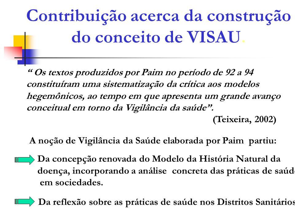 Contribuição acerca da construção do conceito de VISAU. Os textos produzidos por Paim no período de 92 a 94 constituíram uma sistematização da crítica