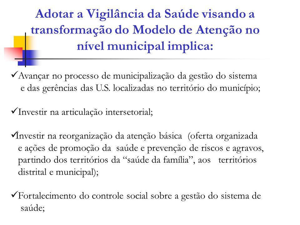 Adotar a Vigilância da Saúde visando a transformação do Modelo de Atenção no nível municipal implica: Avançar no processo de municipalização da gestão