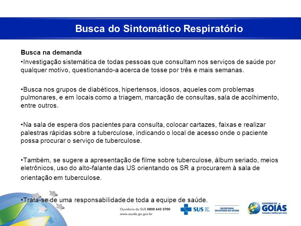 Busca do Sintomático Respiratório Busca na demanda Investigação sistemática de todas pessoas que consultam nos serviços de saúde por qualquer motivo,